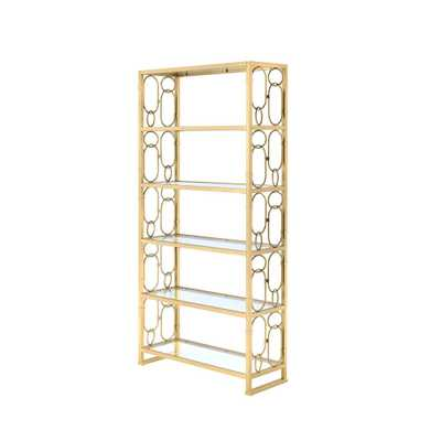 Milavera Clear Glass and Gold Bookcase - Home Depot