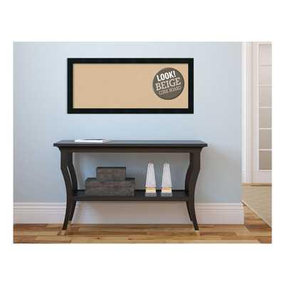 Mezzanotte Black Wood 32 in. x 14 in. Framed Beige Cork Board - Home Depot