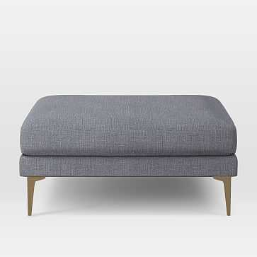 Andes Ottoman, Yarn Dyed Linen Weave, Shelter Blue, Blackened Brass - West Elm