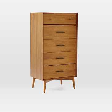 Mid-Century 5 Drawer Narrow, Acorn - West Elm