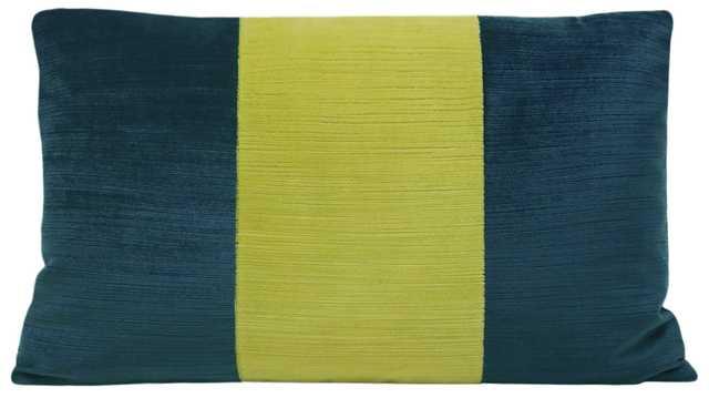 """The Little Lumbar :: Strie Velvet // Harbour Blue + Citrine - 12"""" X 18"""" - Little Design Company"""