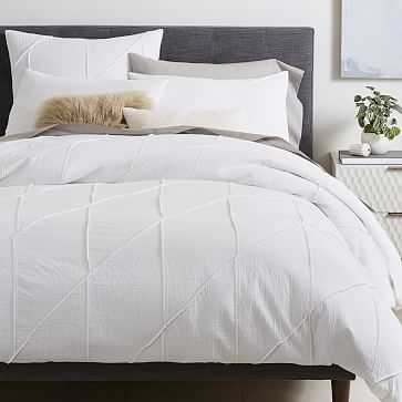 Organic Pleated Grid Duvet Cover, King/ Cal king, White - West Elm