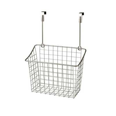 Spectrum Grid 10.125 in. W x 6.625 in. D x 14 in. H Over the Cabinet Large Basket in Satin Nickel Powder Coat - Home Depot