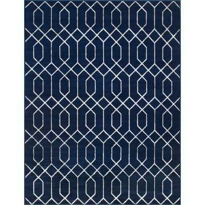 Glam Navy Blue Area Rug - Wayfair