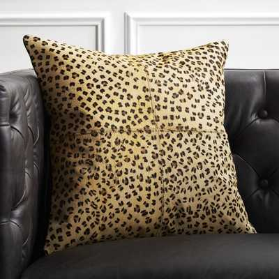 """18"""" Hide Cheetah Print Pillow with Down-Alternative Insert"" - CB2"