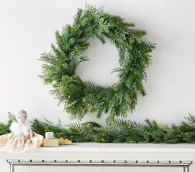 Faux Lit Cedar Wreath - Pottery Barn Kids