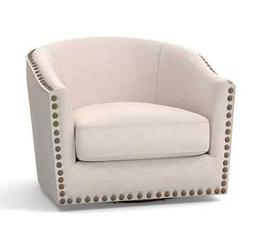 Harlow Upholstered Swivel Armchair with Pewter Nailheads, Polyester Wrapped Cushions, Performance Twill, Metal Gray - Pottery Barn
