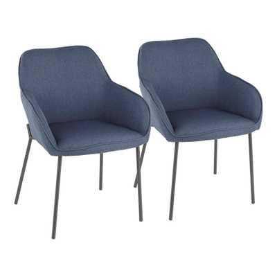 Lumisource Daniella Blue Dining Chair (Set of 2), Blue/Black - Home Depot