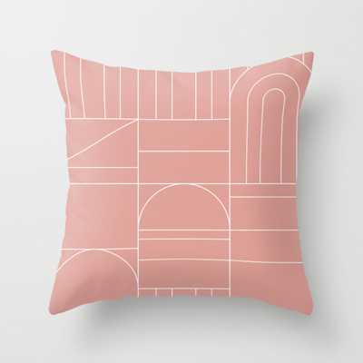 "Deco Geometric 04 Pink Throw Pillow - Outdoor Cover (20"" x 20"") with pillow insert by Theoldartstudio - Society6"