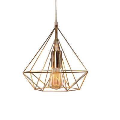 Cory Martin Fangio Lighting's 10 in. 1-Light Polished Nickel Diamond Cage Metal Pendant - Home Depot