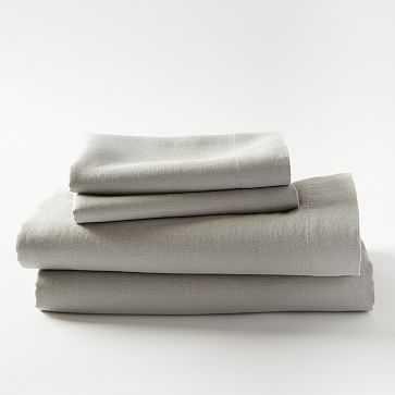 Belgian Linen Sheet Set, Queen, Platinum - West Elm