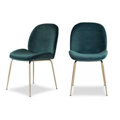 Oak Park Velvet Dining Chairs, Set of 2, Emerald Green - Wayfair