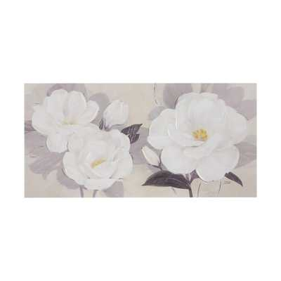 Midday Bloom Florals Paint Embellished Unframed Wall Canvas White - Target