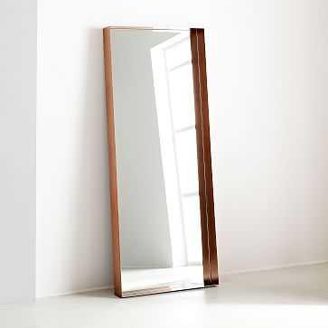 Industrial Shadowbox Floor Mirror, Copper - West Elm