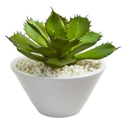 Nearly Natural Indoor Large Succulent Artificial Plant in White Bowl - Home Depot