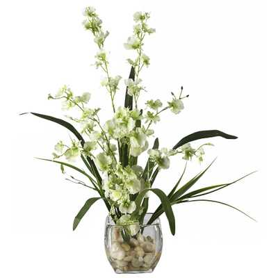 19 in. Dancing Lady Orchid Liquid Illusion Silk Flower Arrangement in Green - Home Depot
