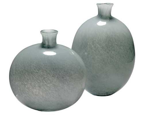 Minx Decorative Vases in Grey Glass (set of 2) - Jamie Young