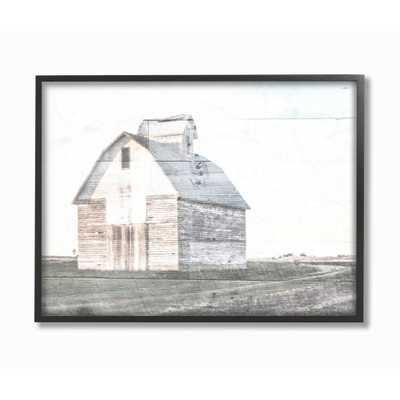 """11 in. x 14 in. """" Rustic Bright White Barn in a Field"""" by Milli Villa Framed Wall Art, Multi-Colored - Home Depot"""