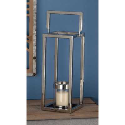 16 in. Silver Stainless Steel and Clear Glass Lantern Candle Holder - Home Depot