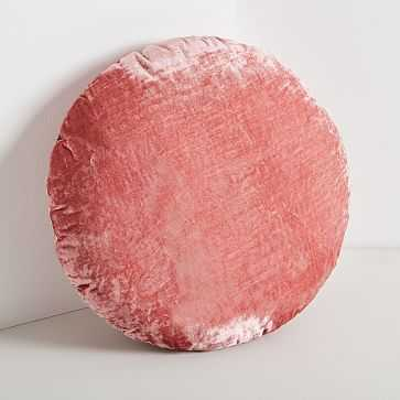 Round Lush Velvet Pillows, Pink Grapefruit - West Elm