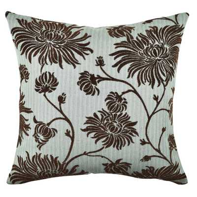 Whimsical Floral Flocked Throw Pillow, Blues - Home Depot