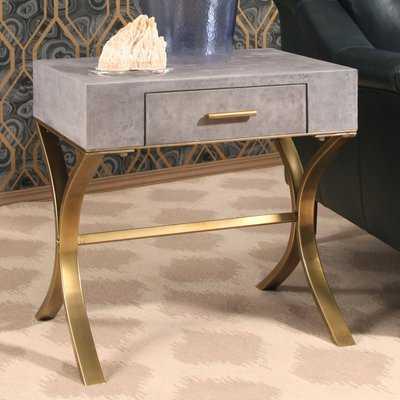Veronika Shagreen Leather End Table - Wayfair