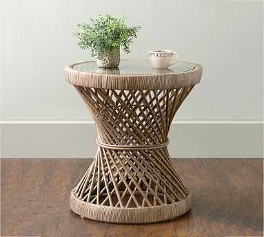 Helix Rattan Glass End Table, Gray - Pottery Barn