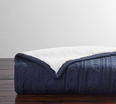 """Cozy Cable Knit Throw, 50 x 60"""", Sailor Blue - Pottery Barn"""