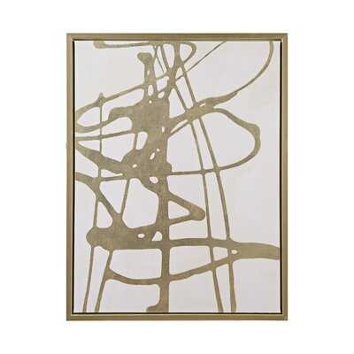 Study In Gold & White Framed Canvas With Gold Foil ( 33.81'' H x 25.81'' W) - Wayfair