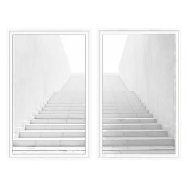 """White Washed Stairs Diptych Framed Art, Set of 2, White Frame, 24x37"""" - Pottery Barn Teen"""