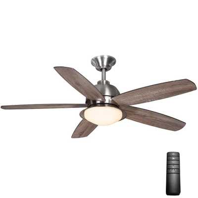 Home Decorators Collection Ackerly 52 in. LED Indoor/Outdoor Brushed Nickel Ceiling Fan with Light Kit and Remote Control - Home Depot