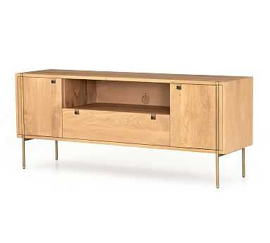 Archdale Media Console, Natural Oak/Satin Brass - Pottery Barn
