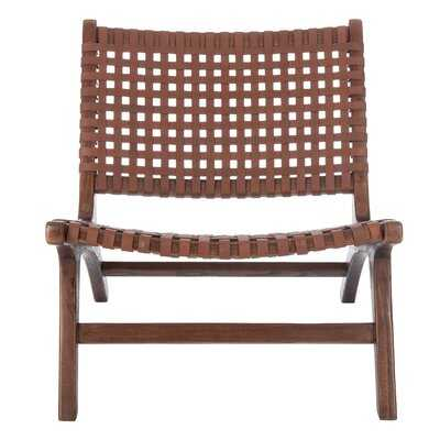 Chiana Leather Woven Accent Chair - Wayfair