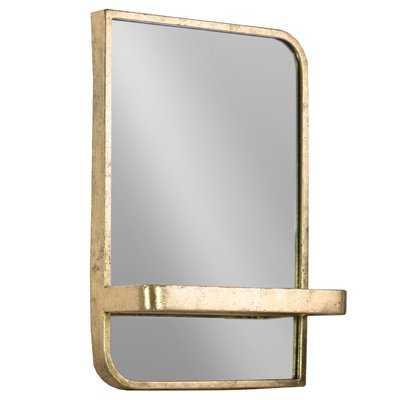 Fausto Rectangle Metal Wall Mirror with Shelf - Wayfair
