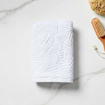 Organic Dashed Lines Sculpted Towel, Hand Towel, White - West Elm