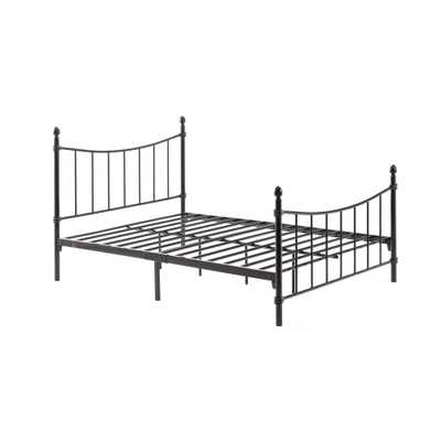 Complete Metal Bronze Queen Bed with Headboard, Footboard, Slats and Rails - Home Depot