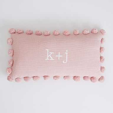 "Pom Pom Organic Pillow Cover, 12""x24"", Quartz Blush - Pottery Barn Teen"