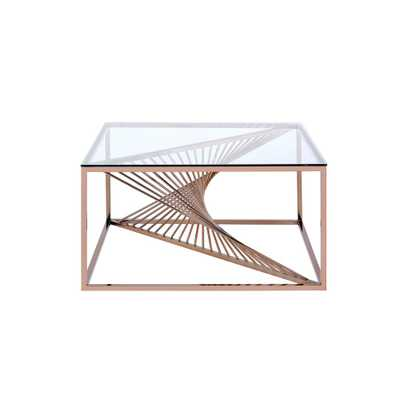 Tralen Brushed Copper and Clear Glass Coffee Table - Home Depot