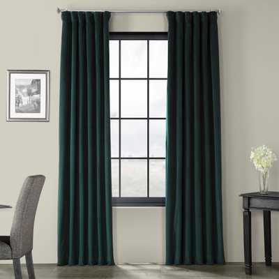 Exclusive Fabrics & Furnishings Signature Blackforest Green Blackout Velvet Curtain - 50 in. W x 120 in. L - Home Depot