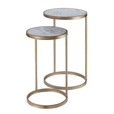 Roark 2 Piece Nesting Table, Gold, White Faux Marble - Birch Lane