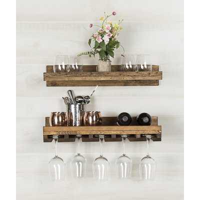 Bernon Rustic Wall Mounted Wine Glass Rack - AllModern