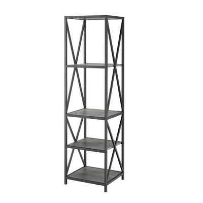 61 Metal Wood Bookcase Slate Gray - Saracina Home - Target