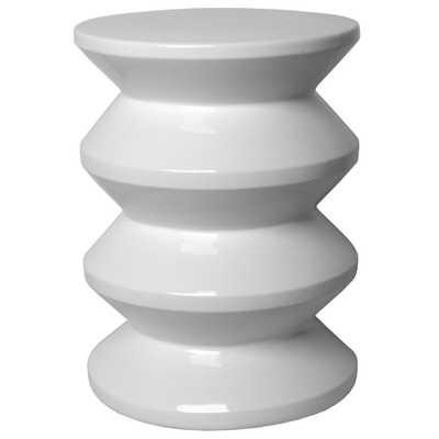 Emissary White Accordion Ceramic Garden Stool - Home Depot