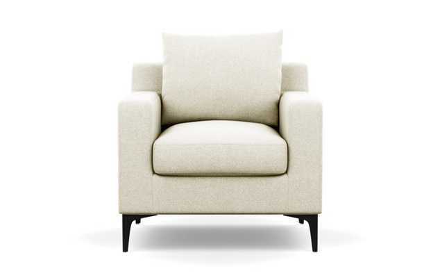 Sloan Petite Chair with White Vanilla Fabric and Matte Black legs - Interior Define
