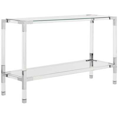 Couture Arverne Chrome Steel and Clear Glass Console Table - Style # 21J14 - Lamps Plus