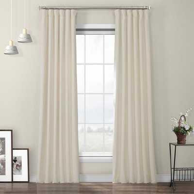 Exclusive Fabrics & Furnishings Au Lait Creme Ivory Heritage Room Darkening Plush Velvet Curtain - 50 in. W x 96 in. L - Home Depot