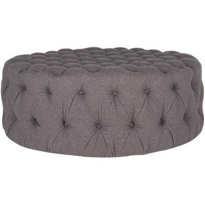 Charlene Gray Tufted Ottoman - Home Depot