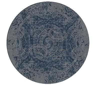 Bosworth Printed Rug, 6' Round, Blue - Pottery Barn