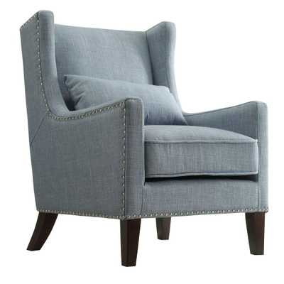 Ashley Blue Linen Wing Back Arm Chair - Home Depot