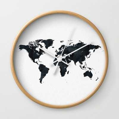 World Map In Black And White Ink On Paper Wall Clock - by Naturemagick - Society6